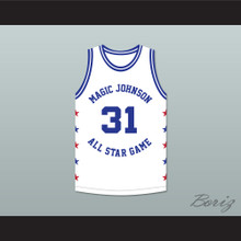 Kurt Rambis 31 Magic Johnson All Star Game White Basketball Jersey 1989 Midsummer Night's Magic Charity Event