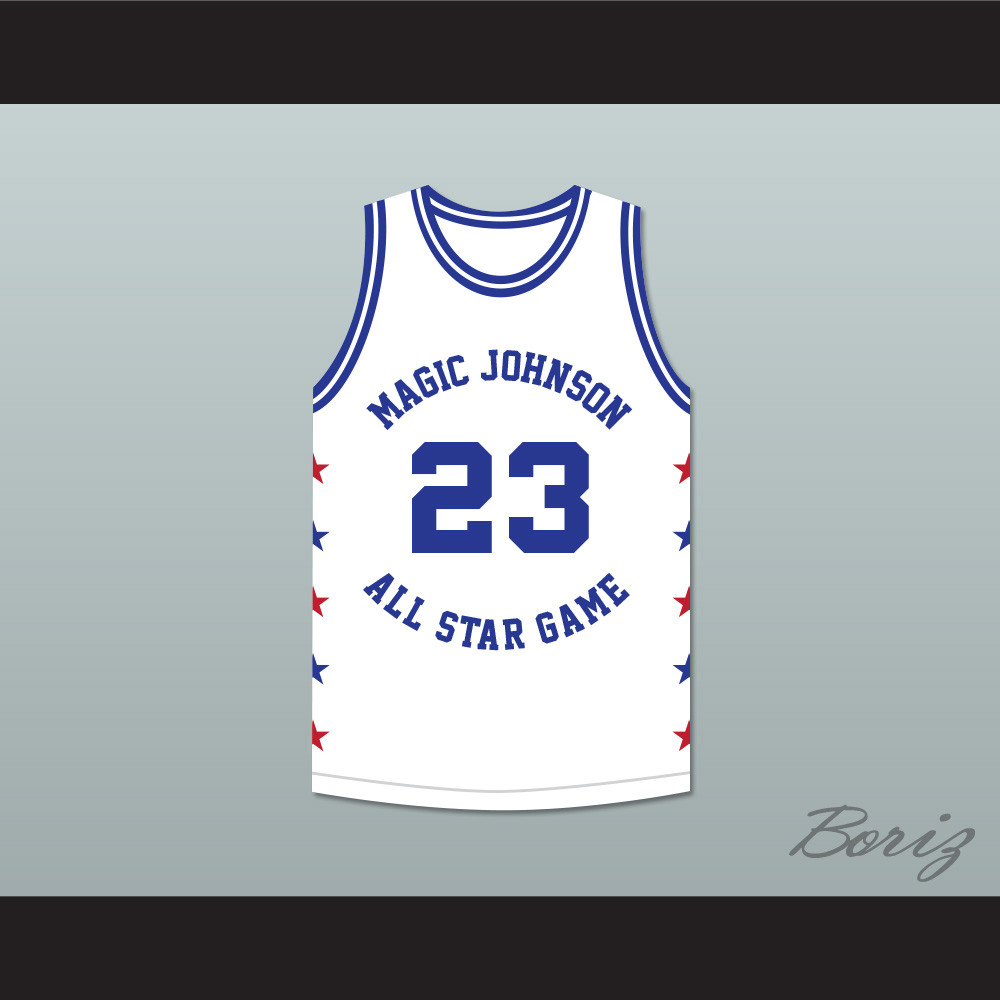 buy online 029ef 121df Michael Jordan 23 Magic Johnson All Star Game White Basketball Jersey 1989  Midsummer Night's Magic Charity Event