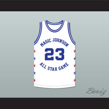 Michael Jordan 23 Magic Johnson All Star Game White Basketball Jersey 1989 Midsummer Night's Magic Charity Event