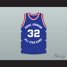 Magic Johnson 32 Magic Johnson All Star Game Blue Basketball Jersey 1988 Midsummer Night's Magic Charity Event