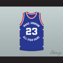 Michael Jordan 23 Magic Johnson All Star Game Blue Basketball Jersey 1988 Midsummer Night's Magic Charity Event