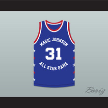 Reggie Miller 31 Magic Johnson All Star Game Blue Basketball Jersey 1988 Midsummer Night's Magic Charity Event