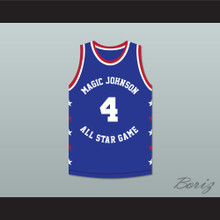 Spud Webb 4 Magic Johnson All Star Game Blue Basketball Jersey 1988 Midsummer Night's Magic Charity Event
