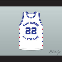 Clyde Drexler 22 Magic Johnson All Star Game White Basketball Jersey 1988 Midsummer Night's Magic Charity Event
