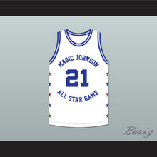 Dominique Wilkins 21 Magic Johnson All Star Game White Basketball Jersey 1988 Midsummer Night's Magic Charity Event