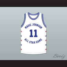Isiah Thomas 11 Magic Johnson All Star Game White Basketball Jersey 1988 Midsummer Night's Magic Charity Event