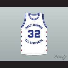 Karl Malone 32 Magic Johnson All Star Game White Basketball Jersey 1988 Midsummer Night's Magic Charity Event