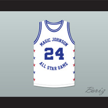 Mark Aguirre 24 Magic Johnson All Star Game White Basketball Jersey 1988 Midsummer Night's Magic Charity Event