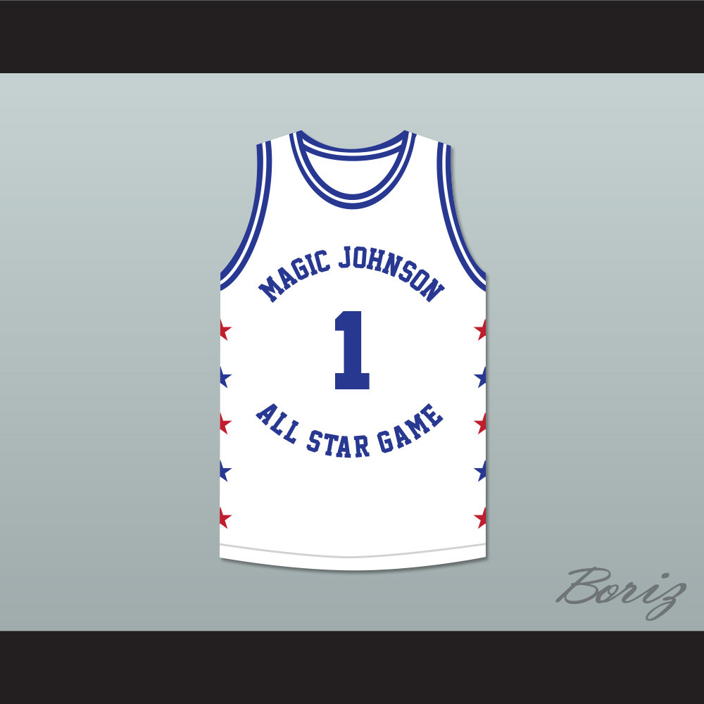 the latest 7cd94 56031 Muggsy Bogues 1 Magic Johnson All Star Game White Basketball Jersey 1988  Midsummer Night's Magic Charity Event
