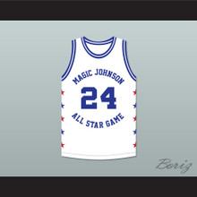 Reggie Theus 24 Magic Johnson All Star Game White Basketball Jersey 1988 Midsummer Night's Magic Charity Event