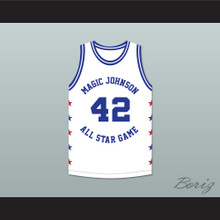 Roy Tarpley 42 Magic Johnson All Star Game White Basketball Jersey 1988 Midsummer Night's Magic Charity Event