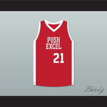 Alfredrick Hughes 21 Push Excel Pro Basketball Classic Red Basketball Jersey 1985 Charity Event