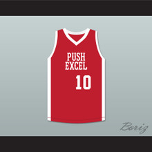 Kenny Patterson 10 Push Excel Pro Basketball Classic Red Basketball Jersey 1985 Charity Event