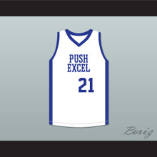 Dominique Wilkins 21 Push Excel Pro Basketball Classic White Basketball Jersey 1985 Charity Event