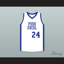 Mark Aguirre 24 Push Excel Pro Basketball Classic White Basketball Jersey 1985 Charity Event