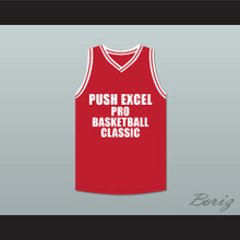 Terry Cummings 34 Push Excel Pro Basketball Classic Red Basketball Jersey 1988 Charity Event