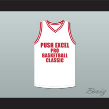 Olden Polynice 52 Push Excel Pro Basketball Classic White Basketball Jersey 1988 Charity Event