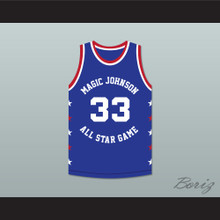 Larry Bird 33 Magic Johnson All Star Game Blue Basketball Jersey 1986 Midsummer Night's Magic Charity Event