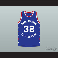 Magic Johnson 32 Magic Johnson All Star Game Blue Basketball Jersey 1986 Midsummer Night's Magic Charity Event