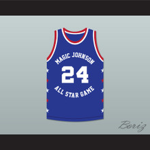 Mark Aguirre 24 Magic Johnson All Star Game Blue Basketball Jersey 1986 Midsummer Night's Magic Charity Event