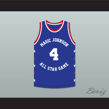 Spud Webb 4 Magic Johnson All Star Game Blue Basketball Jersey 1986 Midsummer Night's Magic Charity Event