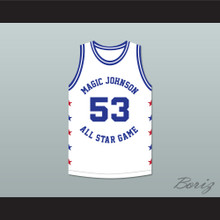 Cliff Levingston 53 Magic Johnson All Star Game White Basketball Jersey 1986 Midsummer Night's Magic Charity Event