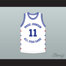 Isiah Thomas 11 Magic Johnson All Star Game White Basketball Jersey 1986 Midsummer Night's Magic Charity Event