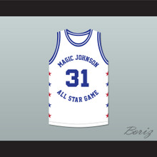 Kurt Rambis 31 Magic Johnson All Star Game White Basketball Jersey 1986 Midsummer Night's Magic Charity Event
