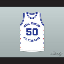 Ralph Sampson 50 Magic Johnson All Star Game White Basketball Jersey 1986 Midsummer Night's Magic Charity Event