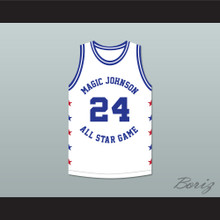 Reggie Theus 24 Magic Johnson All Star Game White Basketball Jersey 1986 Midsummer Night's Magic Charity Event