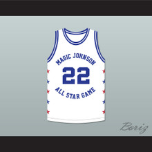 Rolando Blackman 22 Magic Johnson All Star Game White Basketball Jersey 1986 Midsummer Night's Magic Charity Event