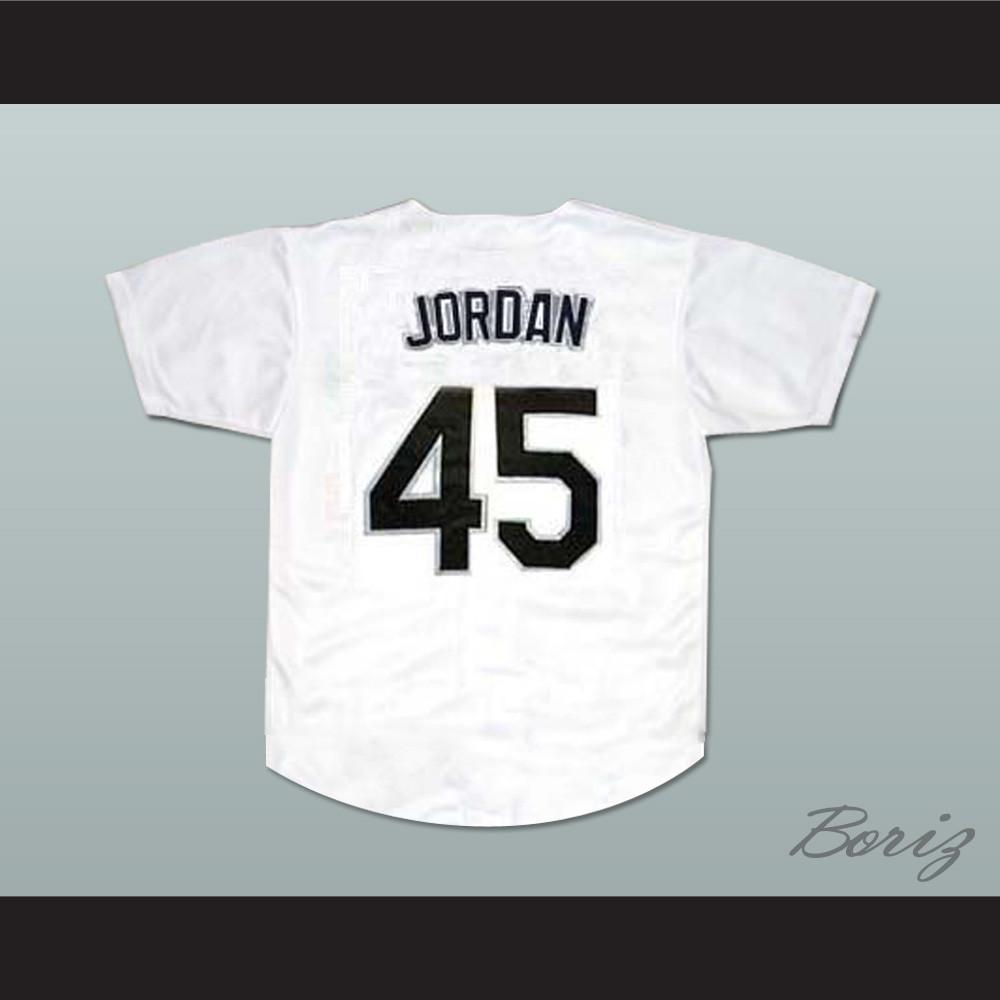 reputable site 795eb 202d7 Michael Jordan 45 Birmingham Barons Baseball Jersey White