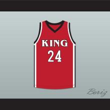 Kawhi Leonard 24 Martin Luther King High School Wolves Red Basketball Jersey 3