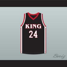 Kawhi Leonard 24 Martin Luther King High School Wolves Black Basketball Jersey 5