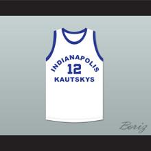 Arnie Risen 12 Indianapolis Kautskys White Basketball Jersey