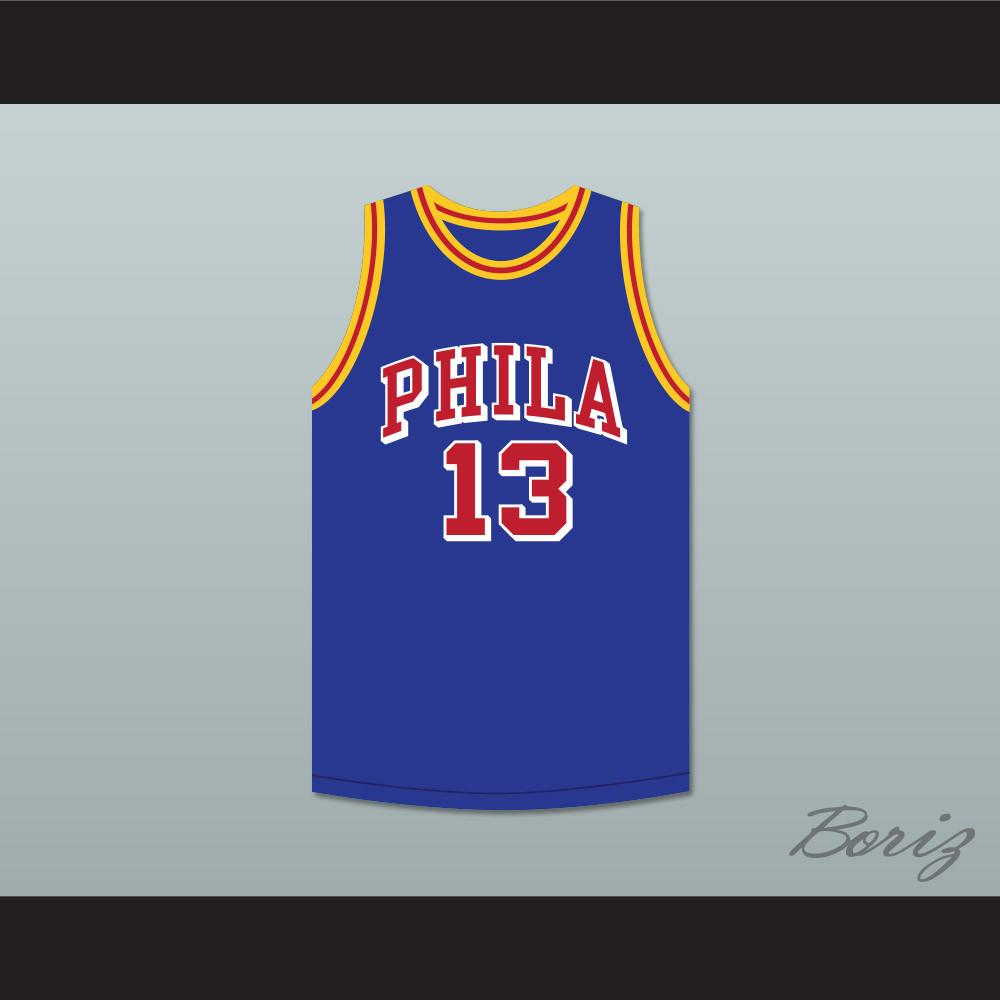 pretty nice 9a34f be50c Wilt Chamberlain 13 Philadelphia Warriors Blue Basketball Jersey 5