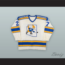 1975-77 WHA Mike Sleep 27 Phoenix Roadrunners White Hockey Jersey