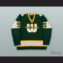 1975-77 WHA Ron Busniuk 5 New England Whalers Green Hockey Jersey