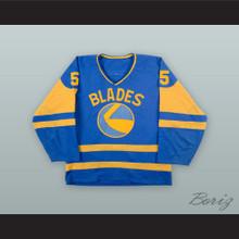 Trent Yawney 5 Saskatoon Blades Blue Hockey Jersey