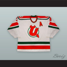 Jamie Huscroft 3 Utica Devils White Hockey Jersey