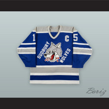Terry Chitaroni 15 Sudbury Wolves Blue Hockey Jersey