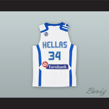 Giannis Antetokounmpo 34 Greece White Basketball Jersey
