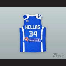 Giannis Antetokounmpo 34 Greece Blue Basketball Jersey