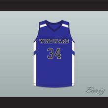 Shareef O'Neal 34 Windward School Wildcats Blue Basketball Jersey 1