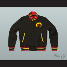 All That Black Varsity Letterman Jacket-Style Sweatshirt