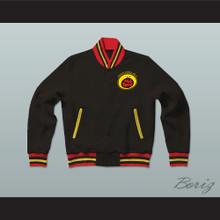 All That Black Varsity Letterman Jacket-Style Sweatshirt