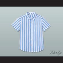 Good Burger Light Blue/ White Striped Polo Shirt