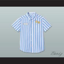 Dexter Good Burger Light Blue/ White Striped Polo Shirt 1