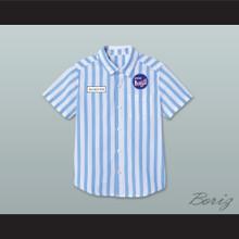 Dexter Good Burger Light Blue/ White Striped Polo Shirt 2