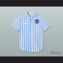 Ed Good Burger Light Blue/ White Striped Polo Shirt 2